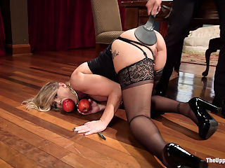 Daddys Discipline : Hot MILF Simone and her little blond step-brat for the week end Chloe Couture are at each others throats. Ramon recognizes the need for some good old fashioned discipline, reminding Simone that she has a brat streak a mile wide and also deserves to be grounded. Making the mistake of using teeth during a blowjob lands Simone face down not the floor, ass red from a serious paddling, apple shoved in her slutty mouth, face covered in squirt, fucked on the breakfast table until she is begging to cum. Licking her squirt off of his shoe Simone finally looks like the content submissive whore that she can be. Chloe meanwhile uses her little pink pussy to try to get her way out of being grounded, but Ramon clips that little slit shut and fucks her mouth instead. Properly spanked and screaming for mercy, Chloe has her pussy released just enough so that she can have her deep red ass bouncing on Ramons cock. Simone is hardly impressed when she finds her step-daughter trying her best to please a real mans dick and shows her little brat how to really work a cock. Tied up tight like a little slut, Simone gets her round ass fucked while her step-daughter vibes her pussy and begs to be taught the house rules, cleaning Simones ass off Ramons cock for every wrong answer. Tired of sloppy mistakes Ramon brings out the cattle prod electro torments his little blond angels until he is pleased with answers and fucks Chloes tight little ass tied in bondage while Simone teaches her how to take it.