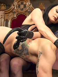 Veruca James Presents Divine Pet Obedience Training 101 : Veruca James is the boss bitch in this dungeon and Reed Jameson is her good little obedient pet. Crawling on his hands and knees across the dirty floor, will this puppy slave be able to please his mistress? Will he earn what he wants or will he get what he deserves! Bent over the knee of his mistress he gets his ass and face slapped red before Veruca shoves a puppy tail butt plug up his devoted ass. Filthy pets love shoes, and Reed is no different. He licks the high heels of his mistress before worshipping her perfect stockings and feet. To reward and train his good behavior Veruca torments her play pet with tickling belly rub before sitting on his pathetic face. All good dogs deserve a bone and Veruca pulls out a big black strap-on to pound down his ass.