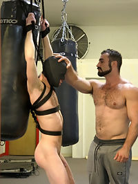 Slender stud humiliated and abused at the hands of his muscled tenant : Alex Hawk has been very patient with his tenant Jaxton Wheeler and the rental agreement for his gym, but now months have passed and Jaxton still hasnt paid and Alex is fed up. When Alex gives Jaxton an ultimatum to pay or be out by saturday, Jaxton decides to pay him in a much different form. Bound and tied up, Alex is flogged while being blindfolded and must serve Jaxton every way he wants. Jaxton sadistically uses ties and clothespins all over Alex while hes getting face fucked and plowed mercilessly into the pole hes been bound to before receiving a face full of cum.
