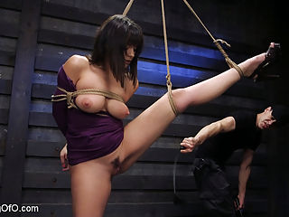 Big Tits, Tight Dress, High Heels New Slave Training Violet Starr : Big Tits, Tight Dress, High Heels all tied up in rope bondage. The stunningly gorgeous Violet Starr is helpless and ready to have her curvy firm body frisked from head to toe. With a ball gag in her mouth, theres nothing she can do but have her huge natural tits felt up like a little slut, her big round firm ass slapped red, and her sensitive nipples tormented. When the flogger and cane come out, her training truly begins. Her big tits and wet pussy are brutally hit causing screams of pain which Violet learns to turn into pleasure for her orgasms. When she forgets her lessons her feet are caned and punished, but she will learn. She will learn to take a huge cock deep down her throat, and have her pussy pounded with hard fucking. All this pain will turn into pleasure as her body is filled with orgasms when her hair is pulled and her pussy is slapped red