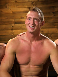 Training Day - Dom in training gets to break in a ripped, new slave : Training day is upon us here at Bound Gods and not only do we have a new muscle sub, Pierce Hartman, but house dom Jaxton Wheeler has his protege, Lance Hart by his side to help break in the new boy. After educating their new sub on proper etiquette, Jaxton uses Pierces mouth to show Mr. Hart the oral portion of their training. Lance jams his hard cock down his slaves mouth, looking down on the boys hungry eyes as he swallows it to the hilt. Next begins the ass training sliding up and down on a huge dragon cock, Pierce must endure a brutal flogging from all directions as Mr. Hart learns the way of the whip. The muscled slave licks the juices off the Bad Dragon dildo before hes blindfolded, bound in rope as hes mounted on top of Jaxtons hard cock. The dragon dick was only the beginning for Pierce as Lance slides in from behind, DPing the bound hunk as he moans in ecstasy. Finally Pierce worships his new masters foot before blowing his load all over it and licking up every drop.
