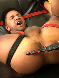 All Play, No Work : When it comes to his mover job, its all work and no play for Dominic Pacifico. His partner Ali Liam doesnt take the job so seriously, but when Dominic gives him shit, the argument leads to a scuffle, ending with Dominic pinned down on the couch. Horny and ready to play, hunky Ali convinces Dominic to give in and forget about work. Before he knows it, his hands are tied behind his back for a over-the-knee ass spanking. Ali pulls out his hard, hairy cock for Dominic to worship all while beating the boys ass nice and red. Biting down on the ball gag lodged in his mouth, Dominic endures a flogging on his cock and balls before his tender ass is beaten to a pulp. Ali rewards him with a fucking from behind before tying him down on the chair. Legs spread, an electric zapper torments Dominics meaty ass before making its way to the bottoms of his feet. The bound studs screams of torment turn to moans of pleasure as Ali rams his hard cock deep in his ass one more time. Dominic begs for more cock until Ali pulls out and sprays his load all over the bound fuck toy that lies before him.
