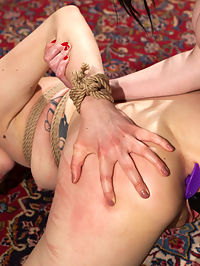 Beat, Fisted, and Fucked! Lilith Luxe submits to Veruca James : Lilith Luxe is bound and suspended in Veruca James lesbian dungeon. Lilith eagerly submits to flogging, caning, spanking, and a vigorous dick-on-a-stick fucking. Next, Veruca decorates her pet with close-pins all over her breasts and clit. Lilith feasts on her Mistress pussy and ass before she gets fisted and comes all over her Mistress hand. Lilith cant stop coming as Veruca continues to stretch out both her pets holes with a zealous strap-on fucking.