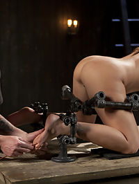 Big Tit Squirter Screams in Metal Bondage : Karlee Grey and her Huge Tits are ready to serve. Naked in high heels, she is placed into proper posture in restrictive metal bondage. Her huge tits are slapped red, her sensitive nipples are tormented with weighted clamps. Her ass punished by flogging and her pussy lips are stretched with metal weights. Karlee is then put into a devastating second position on her hands and knees. Screams of pain and pleasure echo when needles are scraped down her bare feet. Her pussy is filled and pounded til orgasms are ripped out of her. Finally on her back and legs spread wide open, her pussy gets slapped bright red before huge squirting orgasms flood the room.