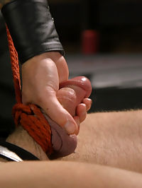 Self-Reflection : House dom, Master Christian Wilde, awaits on the rim chair, gazing down on the muscled slave before him. Jacob Durham lies on the ground in a leather straight-jacket, bit-gag in place as a tight noose pulls on Jacobs fat cock and balls. Hes dragged across the floor by his balls until hes gazing up at Christians perfect, hairy hole. As Christian bounces up and down on his slaves tongue, the bound slave tries with all his might to stretch his tongue past the gag, just enough to taste his masters hole. Locked in the one-way box, Jacob sees nothing but his own face screaming back at him as the double flogger wails on his body. The box ends up being a claustrophobic, mind-fuck so Jacobs released and given air, only to feel the sting of Christians braided floggers. He next endures the cattle prod all while a row of clover clamps torment his meaty chest. Master Wilde finally rewards his boy with a deep ass pounding before blasting Jacob with a mouthful of cum.