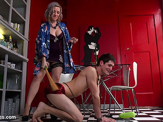 Domestic Husband Training : The sultry and devilish Jessica Ryan makes her Divine Bitches debut to train the neglectful and selfish husband Tony Orlando in how to serve his wife. Tony resists at first but quickly learns that Jessica is not to be trifled with and becomes enchanted with her witchy fem-dom ways. Protocol must first be established and Jessica teaches Tony how to properly respect and arouse his wifes pussy and to accept that he is a FREAK! Once order has been established Jessica pounds Tonys asshole into submission and brings him to the heights of mystical ecstasy. Later Jessica takes a bath in magical potion which intoxicates Tony into a sexual frenzy. He voraciously sucks and deep throats her feet and then worships her divine ass until Jessica decides she is done with him and orgasms on his face. But was it all a dream? Was he bewitched? Tony will never know but he will never forget the hard lessons that he learned and will forever see Jessica is his wet dreams!!!