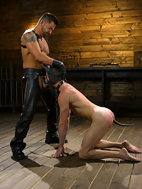 The Pup Master - Introducing Master Pacifico : Master Pacifico, clad in full leather, walks into the dungeon to find a sleeping slave lying naked in his cage. Alex Hawk is awoken and dragged out of his cage by his collar and ordered to worship Master Pacificos leather. The new slave pulls out his new masters bulging cock and swallows it to the hilt as Master Pacifico beats his backside with a paddle. Dominic then transforms his eager slave into his personal pet, a puppy-tail butt plug shoved up his ass and latex mask to complete the puppy transformation. Bound on all fours, Alex swallows his masters cock as the sting of the flogger whips against his exposed ass. Flipped over on his back, the bound pup has a series of clothespins clamped onto his aching balls as the flogger mercilessly beats him to a pulp, all while hes ordered to howl like a beast. A violet wand replaces the puppy-tail plug, penetrating Alexs tight hole as it electrocutes his insides. Master Pacifico then plunges his fat uncut cock into his pets ass, pounding away before bursting a geyser of cum all over the bound pups eager face.