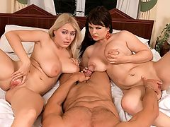 Tits and Tugs : Behind Kristy Klenot, blonde Melissa Mandlikova undresses. She wants to join Kristys hand party. Two Czechmates tit-banging and jerking one man, always great fun and great relief for cum-bloated nuts. br br The two girls pull down the tops of their slips to expose their big hooters but leave their high heels on. Melissa wants to join in so Kristy allows her to grab his dick and shake it too. br br Yeah, play wit him, Kristy says to Melissa in her accented English, her tongue licking her lips. Shes the way nastier of the two. You vant to fuck our titties? Yeah, you vant. Bad boy! taunts wicked Kristy. She and Melissa get on the bed and proceed to get their tits fucked in every way they can think of.
