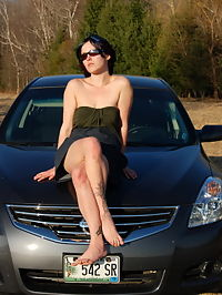 SpunkyAngels Horny tease Sabrina shows off her tight pussy as she lifts her dress while on the hood of the car outdoors in the warm sun : Horny tease Sabrina shows off her tight pussy as she lifts her dress while on the hood of the car outdoors in the warm sun