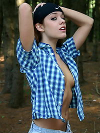 SpunkyAngels Perky babe Serena teases with her perfect boobs as she gets topless outdoors in the woods : Perky babe Serena teases with her perfect boobs as she gets topless outdoors in the woods