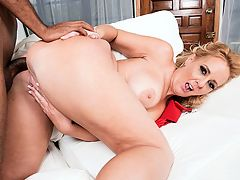 Dirty-talking, anal-loving, BBC-throating Penelope : Theres a lot going on in 43-year-old Penelope Stars second scene at i40SomethingMag.comi. br br She fucks a guy whos 21, young enough to be her son.br br She throats his big, black cock and makes herself gag on it.br br She lets loose with a steady stream of fuck talk while hes fucking her tight, pierced pussy.br br She opens up her ass for his cock and gets a deep anal drilling.br br She lets the dude cum in her asshole then spreads it wide so we can see the cum pouring out.br br Pretty impressive for a mom from New Jersey who had never fucked on-camera before July 28, 2017. It just goes to show you that potential porn starlets are everywhere you go at the supermarket, the mall, the library, the beach, the office. You just never know. Penelope wasnt a porn star until we made her one. And now shes doing all this great stuff.br br We asked Penelope whats sexy to her, and she said, Its a state of mind and part of my personality.br br A big part of her personality, wed say.br br I love giving head and feeling the cum all hot down my throat, she said. It gets me off.br br By the way, she had never had sex with a young guy until she came to our studio. Now it looks as if she cant get enough.