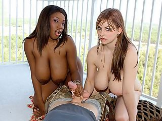 Tits and Tuggin Double Play : They dont come any more busty-chick-next-door than Janet Jade and Christy Marks. In her corner, breaking the measuring tape at 38DDD, standing 52 and weighing 138 squeezable pounds, Janet Jade from Detroit. br br Her fellow handmaiden Christy Marks, 36H, 54 and 134 pounds is from Pennsylvania. They would have made a great team running a massage parlor. br br A lot of guys like my ass, but most guys mostly pay attention to my boobs, Janet said. Christy is entranced by Janets sweater-bumps. I dont know whose titties are bigger, but I like yours better. I think mine might be wider and yours are bigger. But I think they look really nice together. br br They walk towards the camera wearing low-cut tops that display their cleavage mounds like a frame showcasing a painting. Christy and Janet play with their tits, helping each other remove their boobs from their tops. They squeeze, they rub, they jiggle, they shake. br br They coat their rich, soft tits with baby oil and strip down to their panties. Soon their hands will be kneading, rubbing, yanking and stroking. Their breasts will engulf the boner, squeezing, jerking and massaging. The girls purr, hum, whisper and murmur in jack-chat, their sweet voices bringing a sonic eroticism to the action until their target explodes.