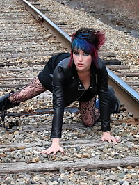 SpunkyAngels Goth babe Sabrina shows off her perfect round ass in black lace with a matching thong outdoors on the railroad tracks : Goth babe Sabrina shows off her perfect round ass in black lace with a matching thong outdoors on the railroad tracks