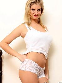 SpunkyAngels Busty blonde babe Jenny McClain shows off her long legs and big tits in her skimpy white lace outfit : Busty blonde babe Jenny McClain shows off her long legs and big tits in her skimpy white lace outfit