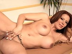 Nicky Ferrari and her high-speed sex drive : This pussy is for you, 46-year-old Nicky Ferrari says in Spanish in this video. When she says it, she has two fingers buried deep inside her mature cunt, and you can hear how wet she is. So, not only is her pussy for you...its ready for you, too.br br When the video opens, Nicky is dressed in a very sexy outfit a tight, white top, a short skirt and fuck-me pumps. When the top comes off, we see that shes wearing sexy lingerie. Then it all comes off and Nicky climbs onto the pool table to play with her pussy and work her ass. She has big tits and dark nipples. She has a tight asshole.br br I am very wet for you, Nicky says in Spanish. Throughout this video, she speaks in English and Spanish.br br Nicky is a mom. She has two sons. Shes also a porn star in Southern California, which is where she lives. It must be interesting to have a porn star as a mother. Whats that like? It would make a great reality show. My moms a porn star!br br Nicky is not a swinger and considers herself sexually passive. She prefers traditional roles where the man makes the first move. She says she likes gentlemen, but thats only until she gets to the bedroom. Then she wants a caveman who will fuck her senseless. She likes to get fucked hard and doesnt mind being called a slut. And shell let you cum wherever you want. With a body like hers, there are many options, and youre about to see all of them.