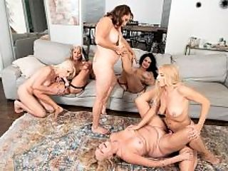 The first-ever six-way granny orgy : Our meeting of the Granny Fuck Club is about to come to a rousing climax. Whats left on the agenda? A six-way, all-GILF orgy with kissing, pussy-eating and fingering, face-sitting and strap-on action. Were betting that youve never seen a six-way, over-60, all-GILF orgy because one has never before been captured on-camera!br br You know, were all together today. Its just us, Luna says to Cammille Austin at the start of the scene. Why dont we have some fun and turn you on to women?br br Okay, says Cammille, who has never been with a woman.br br No convincing is needed. Before long, six 60Plus MILFs--Cammille, Luna, Chery Leigh, Mia Magnusson, Rita Daniels and Sally DAngelo--are getting naked and having a lot of raunchy fun. br br Among the many highlightsbr br A lot of sensual kissing.br br A lot of tits rubbing against tits and lips sucking nipples.br br A ton of pussy eating and face-sitting.br br The ladies fucking each other with dildos and strap-ons.br br More orgasms than we could count.br br But whos counting?br br