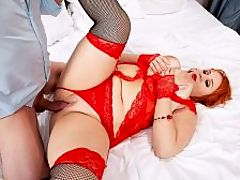 The Passion of Katrin Porto : Katrin Porto is dressed in sexy red lingerie, red heels and fingerless gloves. The curvy redhead gets into bed and plays with her big tits and pussy slowly and erotically. br br A hand pulls aside the sheer curtain of the canopy bed to get a clear look at pretty Katrin as she masturbates. She sees Steve reach out for her breasts to caress them. Katrin gets up and leans forward to take his dick in her mouth so she can suck and lick it like a lollipop. She then crooks her finger and lies back. She wants his tongue to lick and suck her pussy, and she plays with her tits as he eats her out. His cunning lingus drives her wild. She spreads her pussy open for more, pulling him closer by the back of his shirt. After tongue-fucking her, he sinks his cock into her and thrusts. br br Katrin cant get enough of his shaft in her mouth and deep in her pussy. She alternates while exploring different fucking positions. She is very much a passionate woman-next-door and nothing like a mechanical porn star.br br Katrin can get as much sex as she wants but she also enjoys masturbating.br br I masturbate very often. I love to do it during sex and also when I am alone in the bedroom. For example, it may take place while my husband takes a shower or when we are in a quarrel. Usually I like to watch porn on my smartphone while doing this. In fact, porn videos turn me on every time I see them.