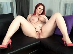 The Redhead-Next-Door With A Rack : Beautiful Alexsis Faye is a busty redhead-next-door boasting 45-inch natural breasts and more curves than a mountain road. br br Alexsis said her bra size is 85K. 85 is a European band size. In the USA, thats 38 according to the bra conversion charts, and the cup size K would be a J in the USA. br br I have problems finding my bras in Ukraine and many times, they smile in the shops when I ask about my size, 85K, said Alexsis. Theyve never heard of that size so I order my bras online from Polish websites or I even travel to Munich where the biggest bra shop in Europe has what I want.br br Alexsis is blessed with an insanely voluptuous rack that will pop your eyes when she walks down the stairs, takes her top off and unleashes her big tits. br br Alexsis has an inviting personality. She says twerking her boobs is one of her talents, and thats a fact! When it comes to shaking, dangling, bouncing and jiggling them, Alexsis deserves a gold medal. Shes very talkative throughout this video and her voice is very sexy. Chalk up another victory for the European union of busty girls. br br Play the second video and see Alexsis in an interview with our photographer.