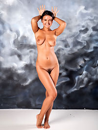 Sanita : Sanita bares her beautiful tits and hairy pussy.