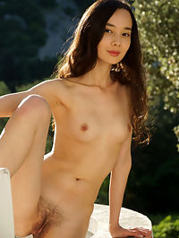 My Hair : Djessy strips outdoors as she bares her hairy pussy.