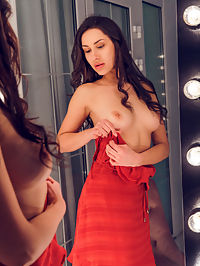 Undressing Room : Angelina Socoho admires her lean and slender body as she takes off her dress in the dressing room