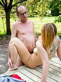 Senior Fuck : Tattooed busty young Christie fucking a senior outdoors