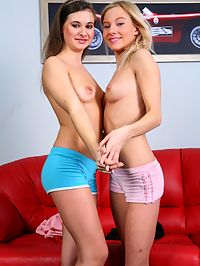 Lesbo teen : Tempting teen lesbians licking and toying their shaved muffs