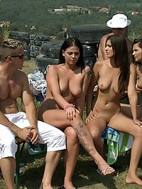 Huge gangbang : One big and horny outdoor orgy outside for everyone to see