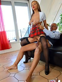 Black Stockings : When Jim sees her black stockings his dick rises up fast