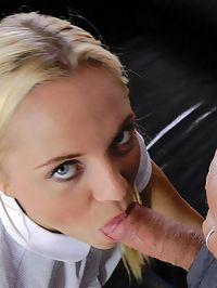 Blonde Blowjob : Very naughty blonde chick giving Jim Slip a hot blowjob