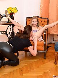 Horny lesbians : Naughty milf lesbian Lara eating a teen babes tiny pussy