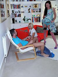 Cock Sharing : Lara for once shares another cock with this hot chick!