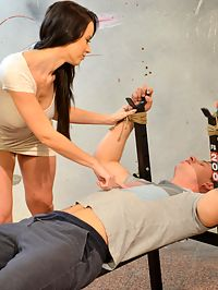 Wanked Hard : Bound man is wanked by gorgeous femdoom brunette and cums
