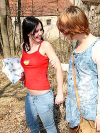 Chesty lesbians : Young busty lesbian teens lick and finger pussies outdoors