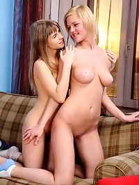 Hairy Pussy : Two young horny girls explore each others hairy pussy!