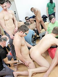 Gay party : Good looking young gays sucking their massive dicks at party