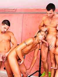 Gay group : Hot european gay suck and fuck their big shafts in group