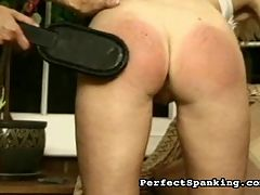 Hard Lesson : Two blonde babes find themselves in trouble with the headmistress, and they are spanked, paddled and caned until they are bruised and throbbing with pain.