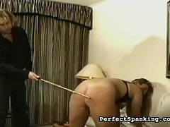 Hot OTK : Spankmaster Bob is given a tough assignment he has to discipline a naughty housewife who cant control her appetite. Every time she wants to eat, he gives her a hard paddling and a lash with the cane. By the end, he crams pastry in her face to give her a final humiliation.