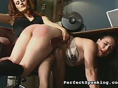 Brunette Struggles : Mistress Gemini is called in to deal with two underperforming new interns. What they lack in office skills they make up in big plush asses, and Gemini thinks the best way for them to learn their lesson is getting a hard spank over her knee.