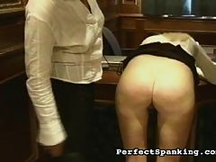 Plump ass Caning : Crusty old Mrs McClusky has another bad case sent to her office?this time she?s going to teach her a lesson she?ll remember for weeks. Check out the hard stinging paddle smacks and the sharp lashes of the cane leaving the lasting impressions on the young slut?s ass.