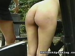 Spanking for two : A hot older mistress is excited to get her hands on a bad young nubile waif. The mistress enjoys taking her time spanking, and making sure the yong bitch gets all of the misbehaving slapped out of her.