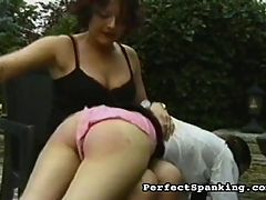 Burning Pain : A hot older mistress is excited to get her hands on a bad young nubile waif. The mistress enjoys taking her time spanking, and making sure the yong bitch gets all of the misbehaving slapped out of her.