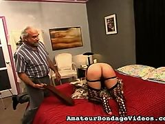 Voluptuous young amateur takes punishment and plays with herself. : Master Len likes to speak casually with his girls before he inflicts as much pain as he feels they can tolerate. He likes to play with this girl??s pussy and tits. She is complaining, being the amateur that she is. She protests but with smiles and laughter. All tied up and chatty her wrists are tied to her ankles. He makes her take the heavy strap, but clearly this girl??s skin is especially sensitive. He whacks her with the hairbrush and makes her thank him, but permits her to rub her stinging butt, which he proceeds to play like a drum. She also likes to play with herself, her pussy and her ample breasts as well.