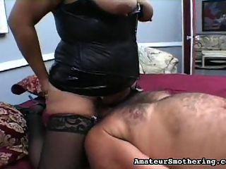 BBW Is Bad-Ass Babe : Do you know what its like to get smothered by a BBW, whose ass and tits are generous to a fault? This fellow finds out...fast!
