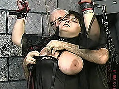 Hardcore Tit Whipping : This girl has huge tits and they are real! Master Len ties them up very tight, until they turn bright blue. Dezdemona has clamps placed on her nipples, she is whipped and flogged. Next she is given a caning until she cries great big splashy tears. If you like real than this video is for you. Real tits, real welts, and real tears!