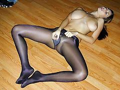 Jackoff Humiliation : A 19 year old sweetheart of a girl in black sheer to the waist pantyhose, Shay Laren wants to turn you on. She sits back, spreads her legs wide and gives you a nice shot of her cotton panel. She stands over you and rubs her crotch and pumps her fist and asks do you like what you see? as she turns above you. Then, a pantyhose foot show as she wants to know if you would like to come on her feet. She slips off her dress to unleash massive 42 DD natural tits! She holds the camera onto the cotton panel and talks sweetly and naughtily to you to get you off. Great sexy poses as the hose come off and you get to view that neatly trimmed pussy.