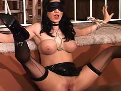 Bound to Meet : Two big titted honeys arrange a hookup after a hot chat in the bondage room, and they take turns tying each other up and teasing each others nipples and pussylips. Delicious babes in sinful situations.
