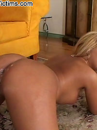 Blonde whore gets gangbanged by four black cocks