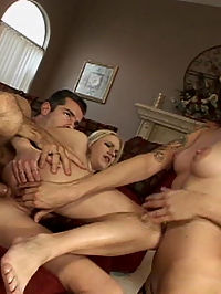 Two girls share a cock and both take anal sex